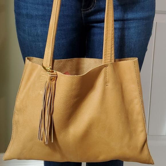 NWOT Tan genuine leather boho bag